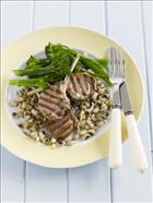 Grilled lamb cutlets with black eye beans and broccolini