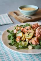 Potato, hot smoked salmon and macadamia mayonnaise salad