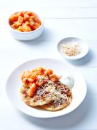 Coconut crumpets with papaya and kaffir lime salsa