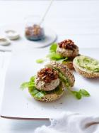 Chicken & avocado burgers with chilli & onion jam