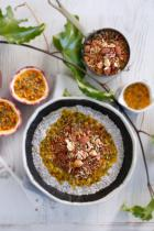 Passionfruit, chia and coconut porridge with toasted nuts