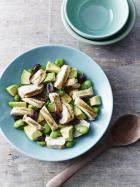 Grilled chicken with broad bean, avocado and olive salad