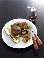 Barbecue Steak with Mushroom and Chickpea Salad