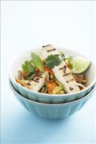 Marinated Tofu with Stir Fried Cabbage, Carrot & Bean Sprout Salad