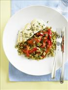 Grilled blue eye trevalla with sage, lentils and roast capsicum